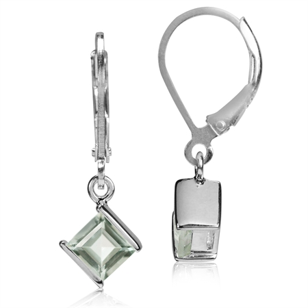 1.26ct. 5MM Natural Square Shape Green Amethyst 925 Sterling Silver Leverback Earrings