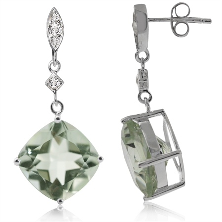 12.94ct. 12MM Cushion Natural Green Amethyst & White Topaz 925 Sterling Silver Dangle Post Earrings
