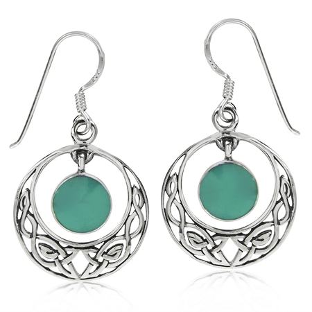 Dangle Created Green Turquoise 925 Sterling Silver Celtic Knot Circle Hook Earrings