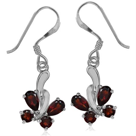 1.72ct. Natural Garnet 925 Sterling Silver Butterfly Dangle Earrings