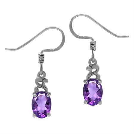 Petite Oval 7x5MM Natural African Amethyst 925 Sterling Silver Victorian Style Dangle Earrings