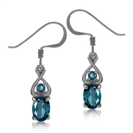 2.08ct. Genuine London Blue Topaz 925 Sterling Silver Dangle Hook Earrings