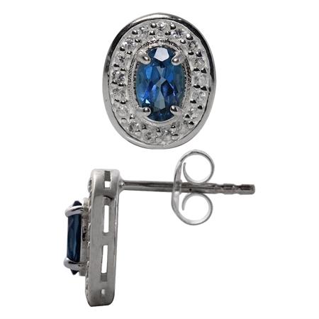 1.12ct. Genuine London Blue & White Topaz 925 Sterling Silver Post Earrings
