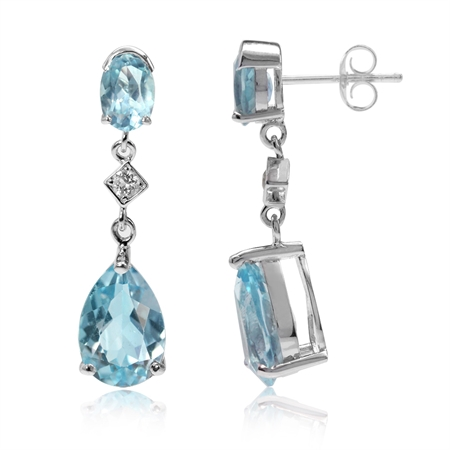 7.46ct. Genuine Blue Topaz White Gold Plated 925 Sterling Silver Drop Dangle Post Earrings