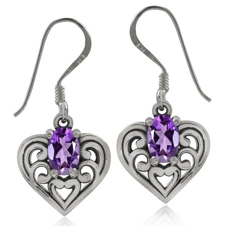 Natural African Amethyst 925 Sterling Silver Southwest Style Filigree Heart Dangle Earrings