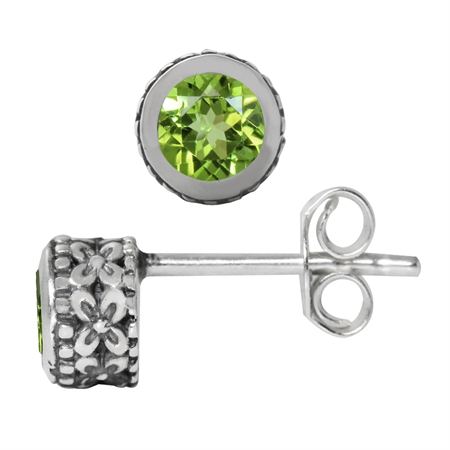 4MM Petite Natural Round Shape Peridot 925 Sterling Silver Flower Stud Earrings