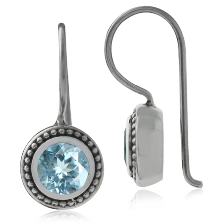 1.16ct. Genuine Blue Topaz 925 Sterling Silver Balinese Hook Earrings