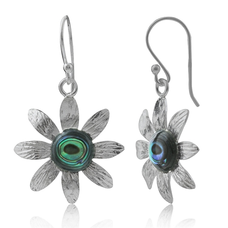 Abalone/Paua Shell 925 Sterling Silver Flower Dangle Earrings