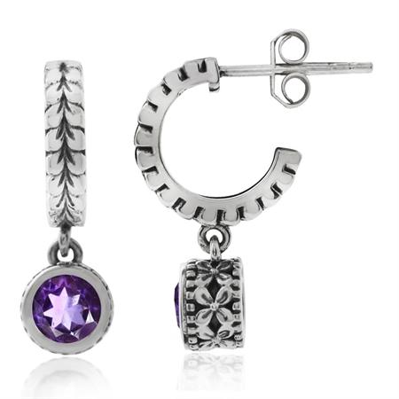 Natural African Amethyst 925 Sterling Silver Leaf C-Hoop Flower Teens/Girls Dangle Earrings