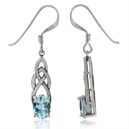 1.8ct. Genuine Blue Topaz 925 Sterling Silver Celtic Knot Dangle Earrings