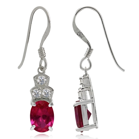 Simulated Ruby Red & White CZ 925 Sterling Silver Dangle Hook Earrings