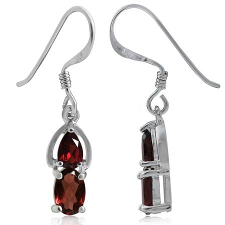1.06ct. Natural Garnet 925 Sterling Silver Dangle Hook Earrings