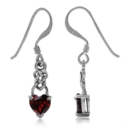 1.06ct. Petite Natural Heart Shape Garnet 925 Sterling Silver Celtic Knot Dangle Hook Earrings