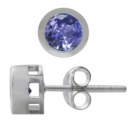 1.02ct. Genuine Tanzanite 925 Sterling Silver Stud Earrings