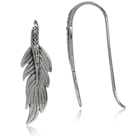 Natural White Diamond 925 Sterling Silver Feather Hook Earrings