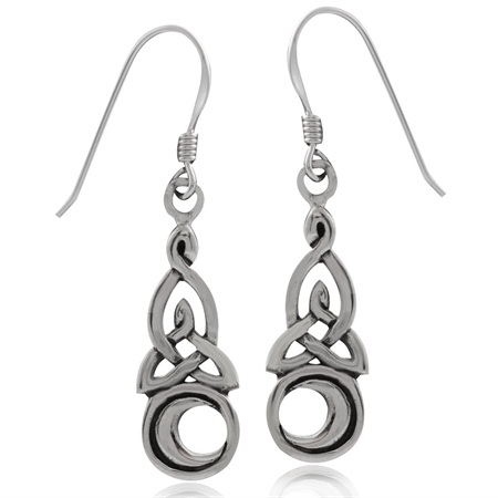 925 Sterling Silver Triquetra CELTIC KNOT & MOON Dangle Earrings