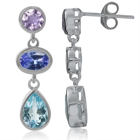Genuine Blue Topaz, Tanzanite & Amethyst 925 Sterling Silver Post Dangle Earrings