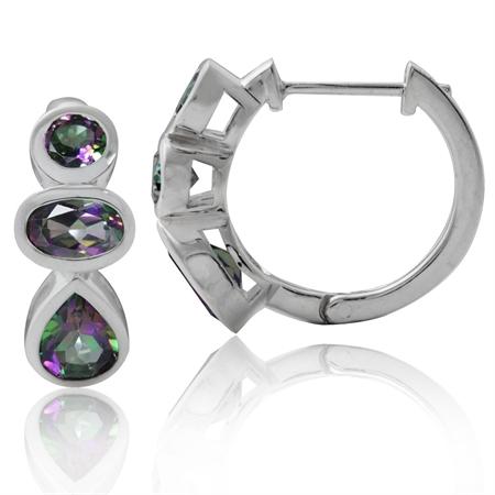 3.18ct. 3-Stone Mystic Fire Topaz 925 Sterling Silver Huggie/Hoop Earrings