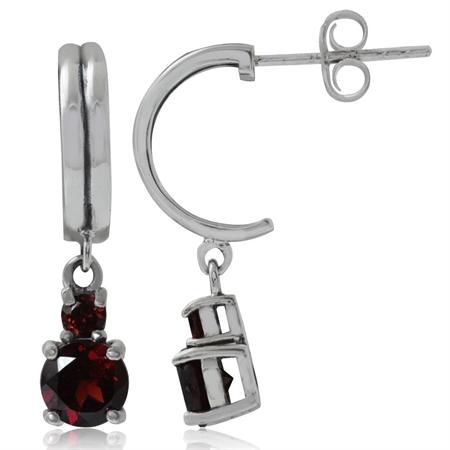 Natural Garnet 925 Sterling Silver C-Hoop Dangle Earrings