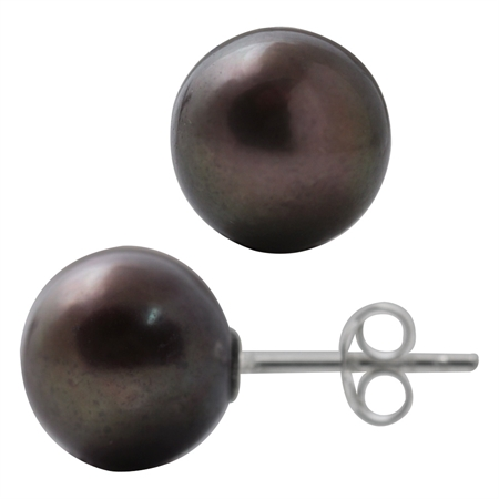 10.5MM Cultured Black Pearl 925 Sterling Silver Stud Earrings