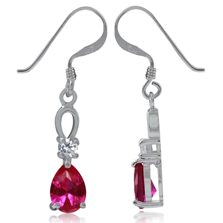 Simulated Ruby Red & White CZ 925 Sterling Silver Drop Dangle Earrings