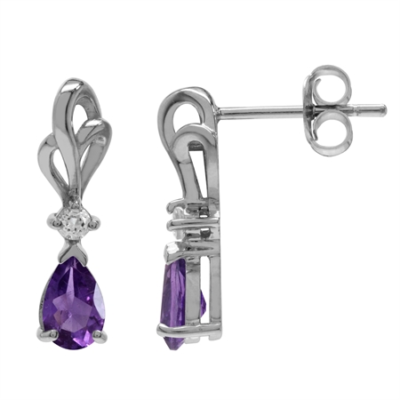 Natural African Amethyst & White Topaz 925 Sterling Silver Ribbon Drop Post Earrings