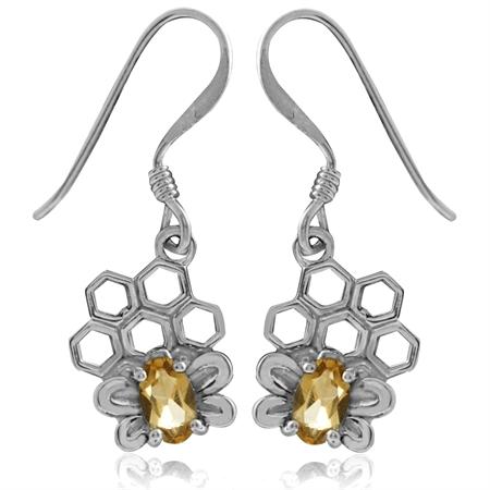 Natural Citrine 925 Sterling Silver Honeycomb Bee Dangle Hook Earrings