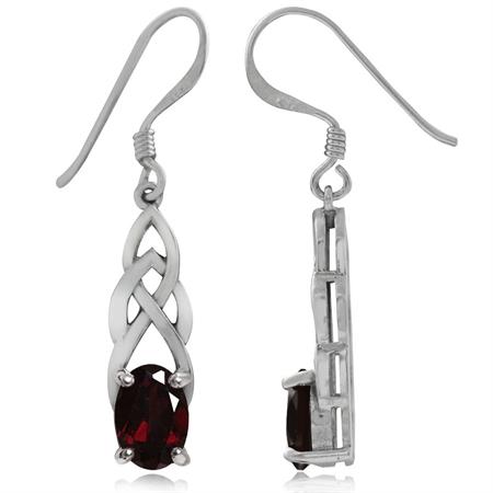 1.86ct. Natural Garnet 925 Sterling Silver Celtic Knot Dangle Hook Earrings