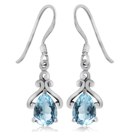1.72ct. Genuine Blue Topaz 925 Sterling Silver Drop Dangle Earrings