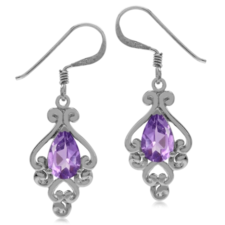 1.4ct. Natural African Amethyst 925 Sterling Silver Victorian Style Dangle Hook Earrings