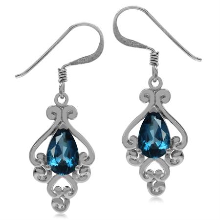 2ct. Genuine London Blue Topaz 925 Sterling Silver Victorian Style Dangle Hook Earrings