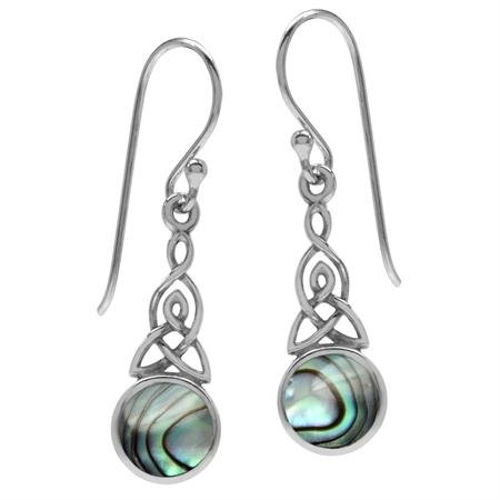 Abalone/Paua Shell 925 Sterling Silver Triquetra Celtic Knot Dangle Hook Earrings