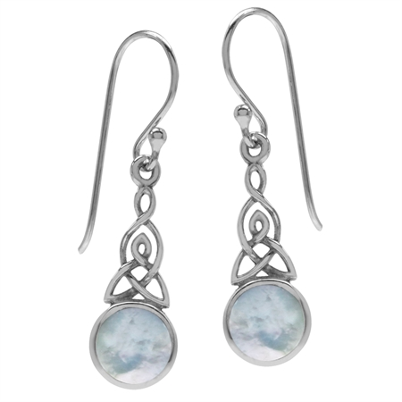 White Mother of Pearl (MOP) 925 Sterling Silver Triquetra Celtic Knot Dangle Hook Earrings