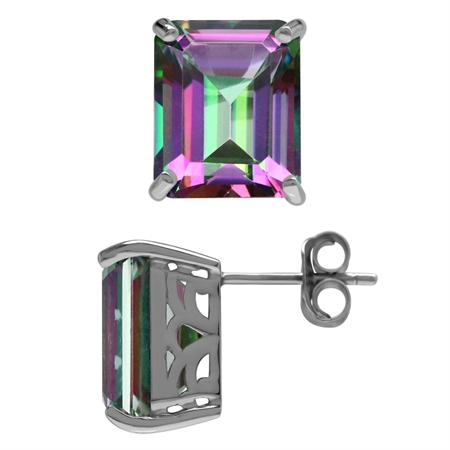 15.28ct. 12x10MM Octagon Shape Mystic Fire Topaz 925 Sterling Silver Stud/Post Earrings