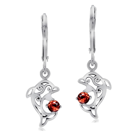 Natural Garnet 925 Sterling Silver Dolphin Filigree Leverback Earrings