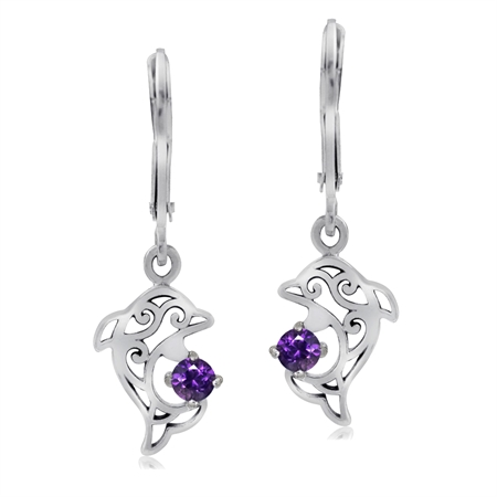 Natural Amethyst 925 Sterling Silver Dolphin Filigree Leverback Dangle Earrings