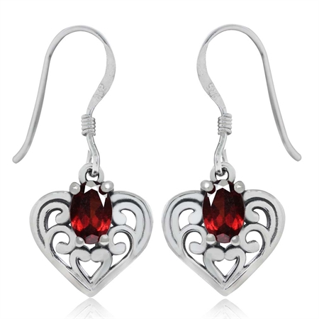 1.18ct. Natural Garnet 925 Sterling Silver Southwest Style Filigree Heart Dangle Earrings