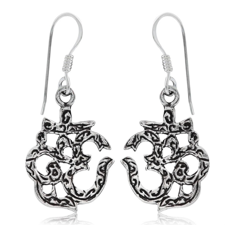 925 Sterling Silver OMKAR Dangle Earrings