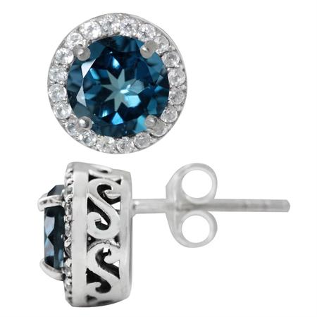 3.1ct. Genuine London Blue & White Topaz 925 Sterling Silver Stud/Post Earrings