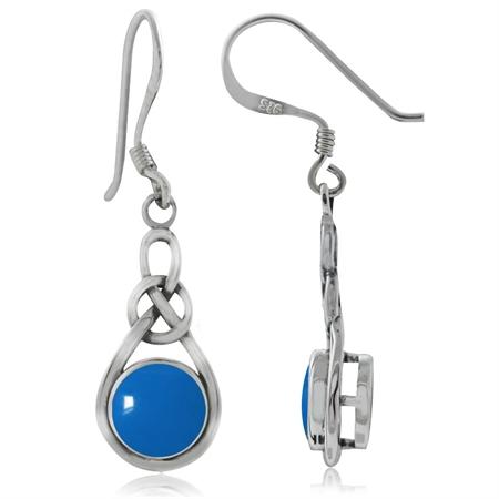 Blue Turquoise 925 Sterling Silver Celtic Knot Drop Dangle Earrings