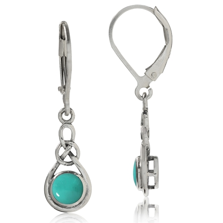 Created Green Turquoise 925 Sterling Silver Celtic Knot Leverback Dangle Earrings