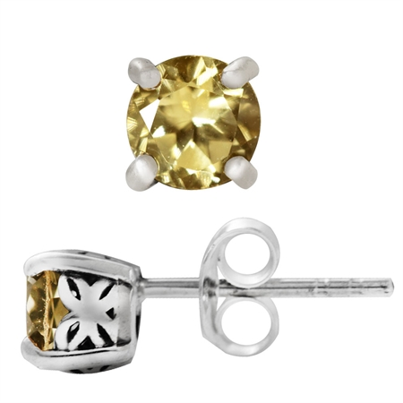 Natural Citrine 925 Sterling Silver Butterfly Stud Earrings