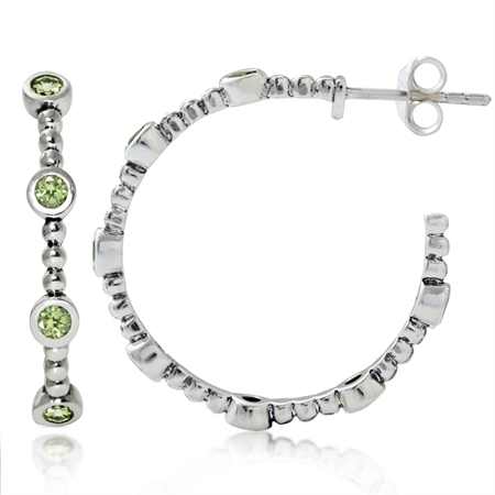 Natural Peridot 925 Sterling Silver Ball Bead C-Hoop Earrings