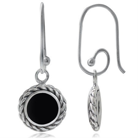 Created Black Onyx 925 Sterling Silver Rope Interchangeable Earrings