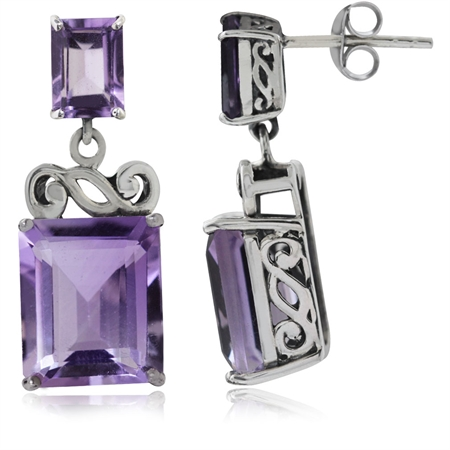 12.7ct. Natural Amethyst 925 Sterling Silver Swirl Dangle Post Earrings