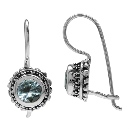 Simulated Color Change Alexandrite 925 Sterling Silver Bali/Balinese Style Hook Earrings