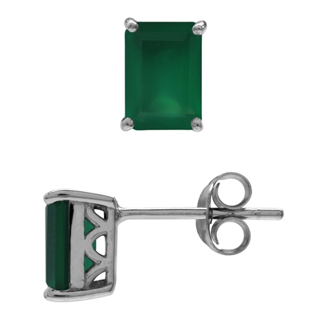 1.9ct. 7x5MM Natural Octagon Shape Emerald Green Agate 925 Sterling Silver Stud/Post Earrings
