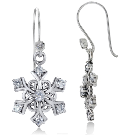 White CZ 925 Sterling Silver Snowflake Cluster Dangle Hook Earrings
