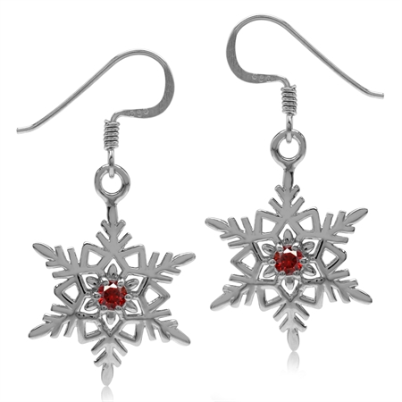 Garnet Red CZ 925 Sterling Silver Snowflake Dangle Hook Earrings