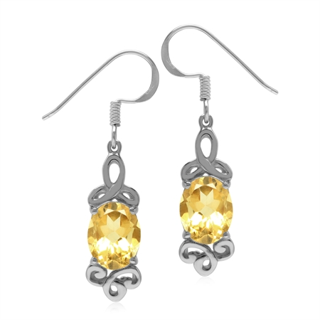3.78ct. Genuine Citrine 925 Sterling Silver Triquetra Celtic Knot Dangle Earrings